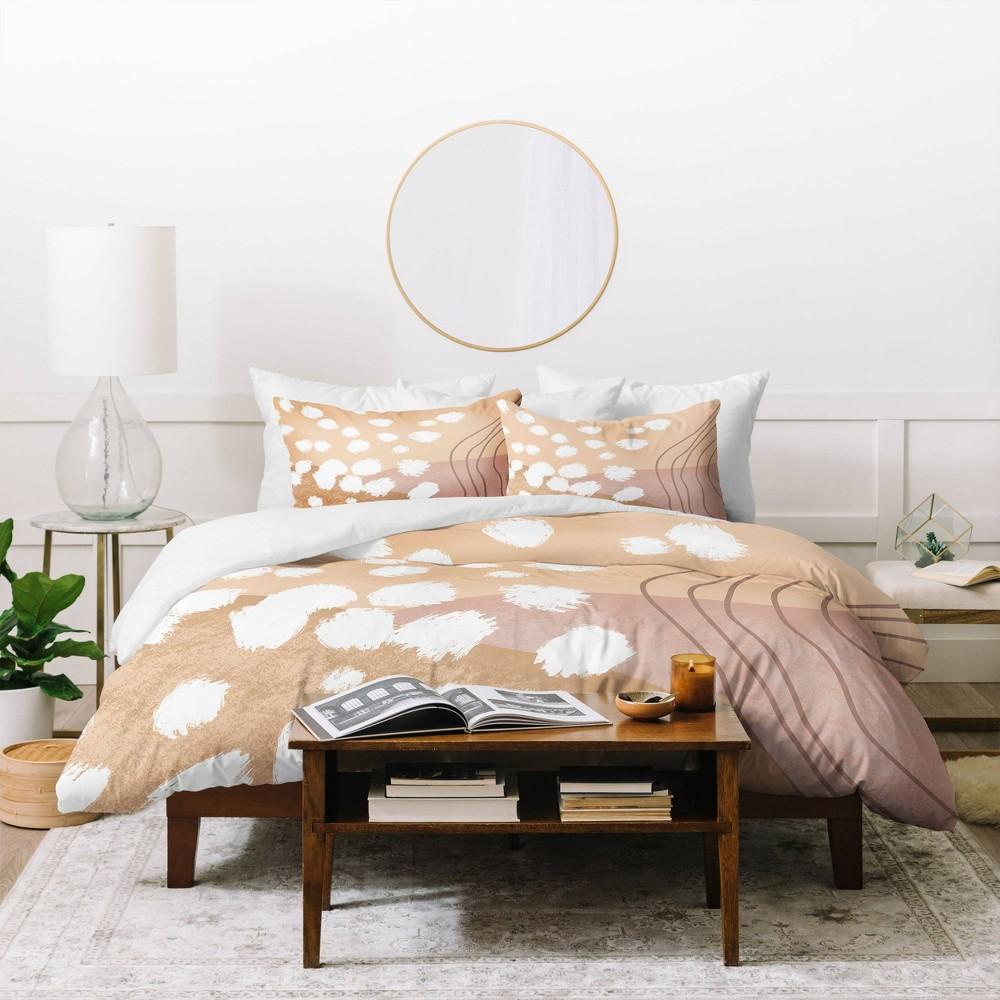 Full Queen Aleeya Jones Modern Abstract Duvet Set Beige Deny Designs