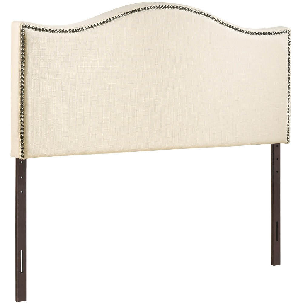 Curl King Nailhead Upholstered Headboard Ivory - Modway