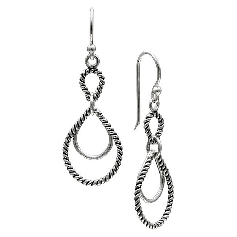 Women's Oxidized Double Teardrop Earrings in Sterling Silver - Silver (35mm) - image 1 of 1