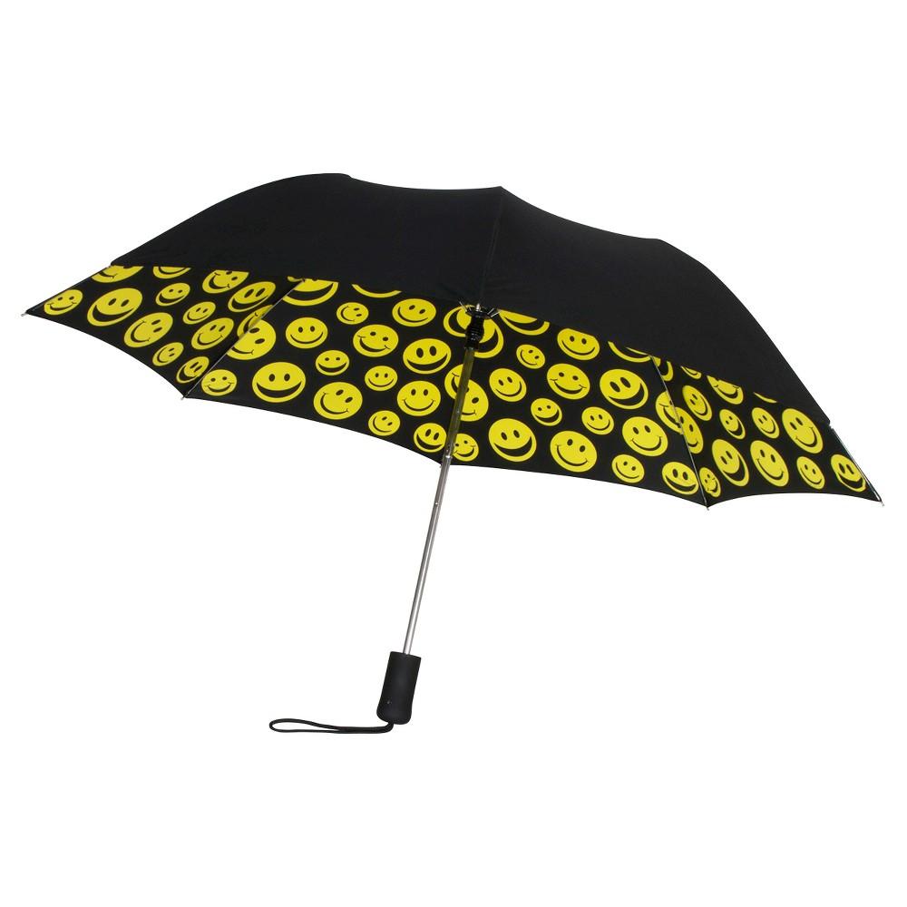 Auto Open Compact Umbrella - Smiles, Black