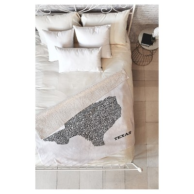 Black Travel Restudio Designs Texas Map Sherpa Throw Blanket (50 X60 )- Deny Designs®