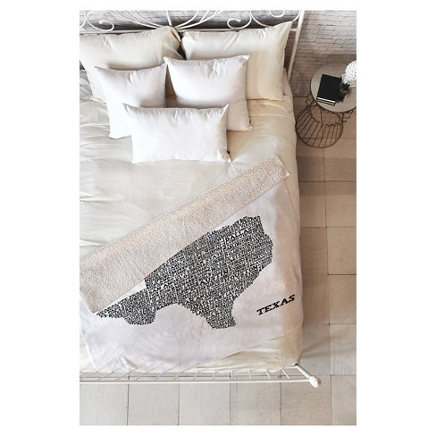 "Black Travel Restudio Designs Texas Map Sherpa Throw Blanket (50""X60"") - Deny Designs® - image 1 of 1"