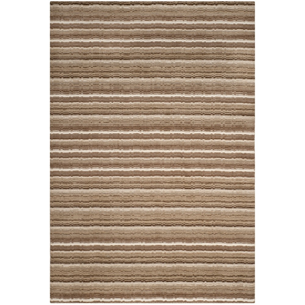 6'X9' Stripe Loomed Area Rug Natural - Safavieh, White
