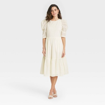 Women's Elbow Sleeve Eyelet Dress - A New Day™