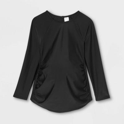 Long Sleeve Rash Guard Maternity Top - Isabel Maternity by Ingrid & Isabel™ Black