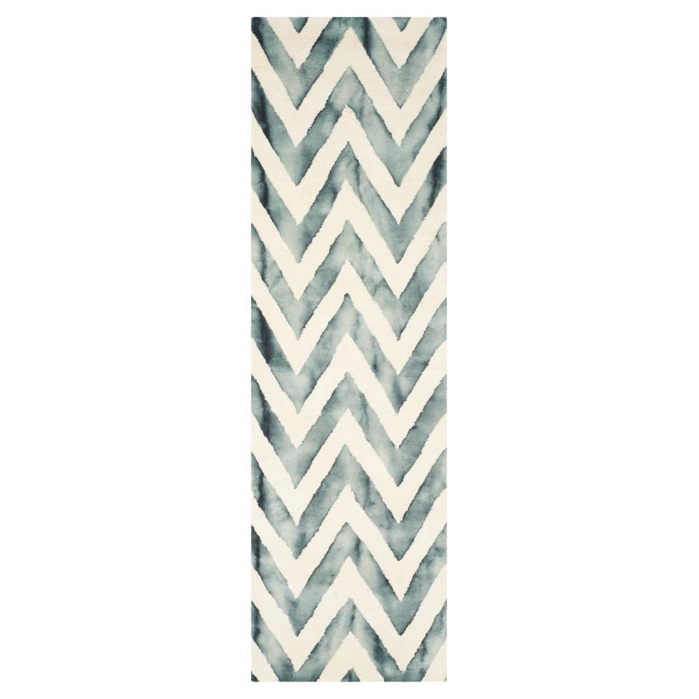 2'3X6' Dip Dye Design Accent Rug Ivory/Gray - Safavieh