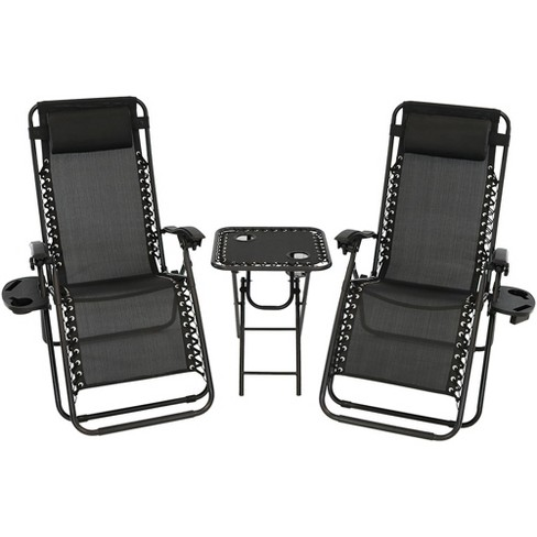 Zero Gravity Lounge Chairs and Table with Cup Holders Set - Black - Sunnydaze Decor - image 1 of 6