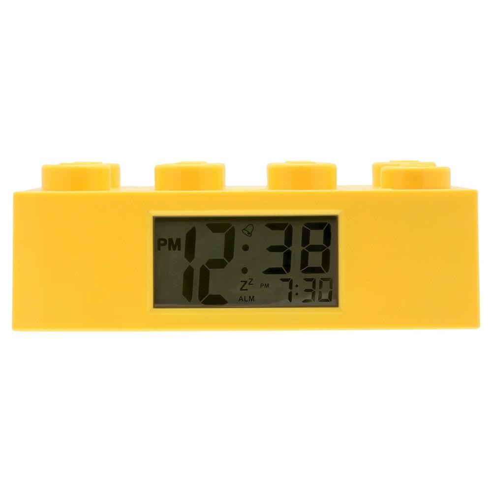 Image of Lego Brick Kids Yellow Alarm Clock - Yellow