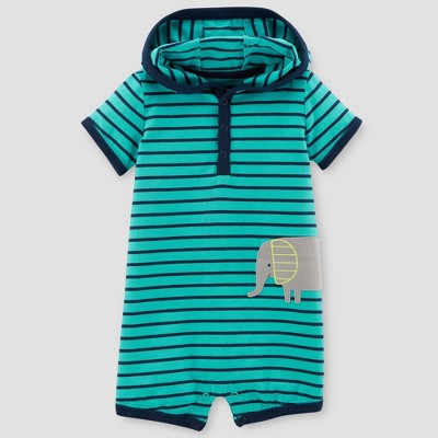 Baby Boys' Stripe Hooded Elephant Romper - Just One You® made by carter's Teal 9M