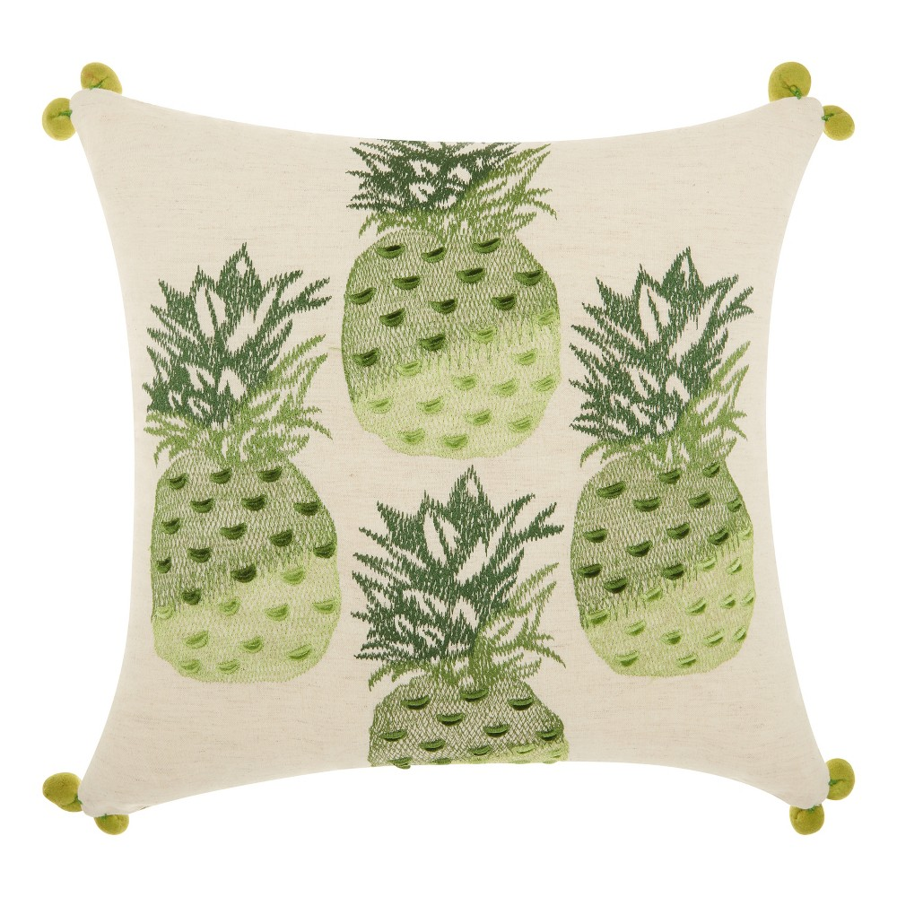 Green Pineapples Throw Pillow Green Mina Victory