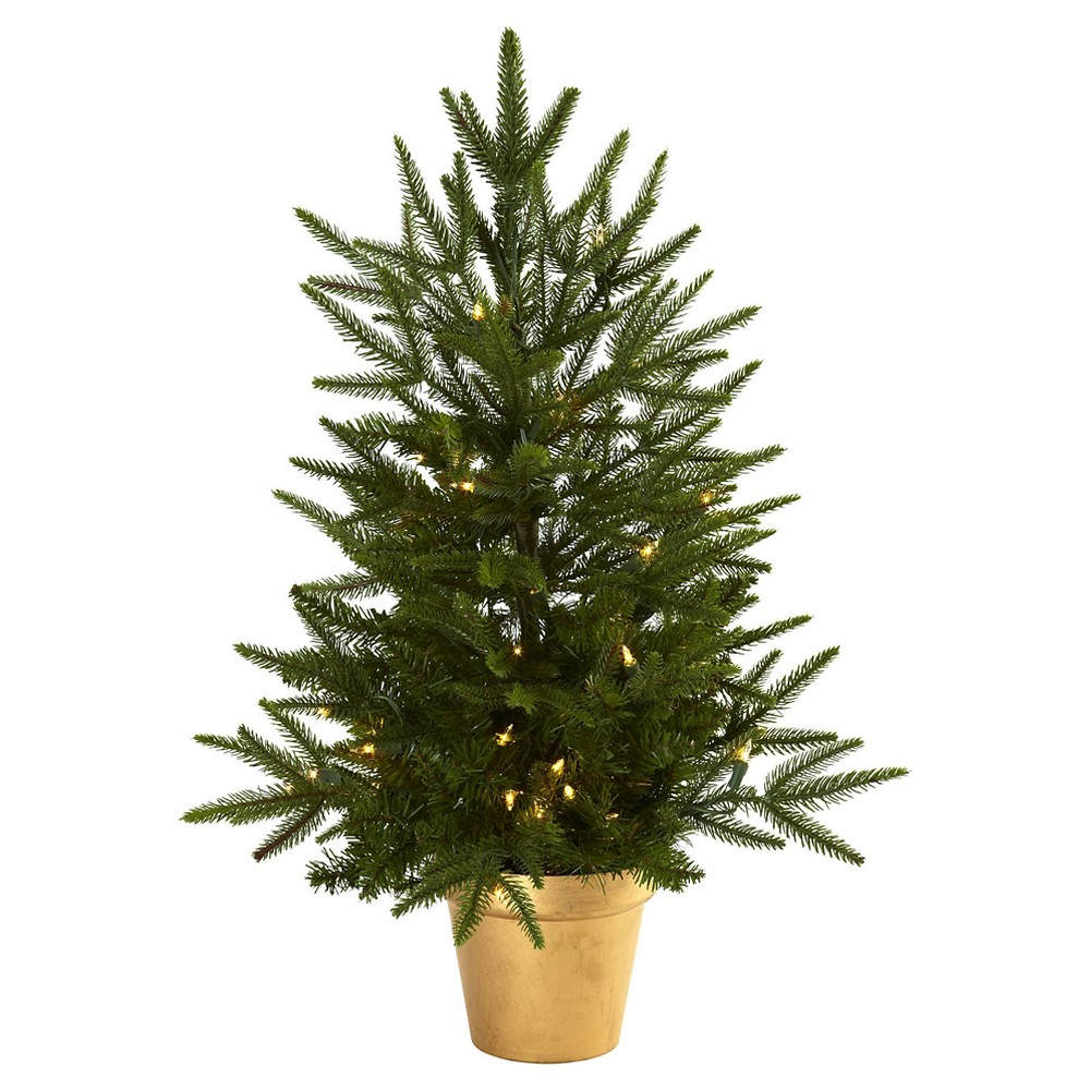 Image of 2.5' Christmas Tree with Golden Planter & Clear Lights - Nearly Natural, Green