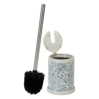 Toilet Brush with Self Closing Lid Gray - Bath Bliss
