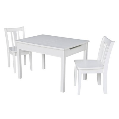 Kids' Storage Table with 2 San Remo Juvenile Chairs White - International Concepts
