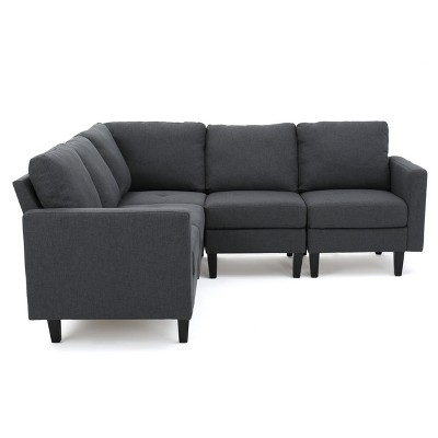 5pc Zahra Sectional Couch Dark Gray - Christopher Knight Home
