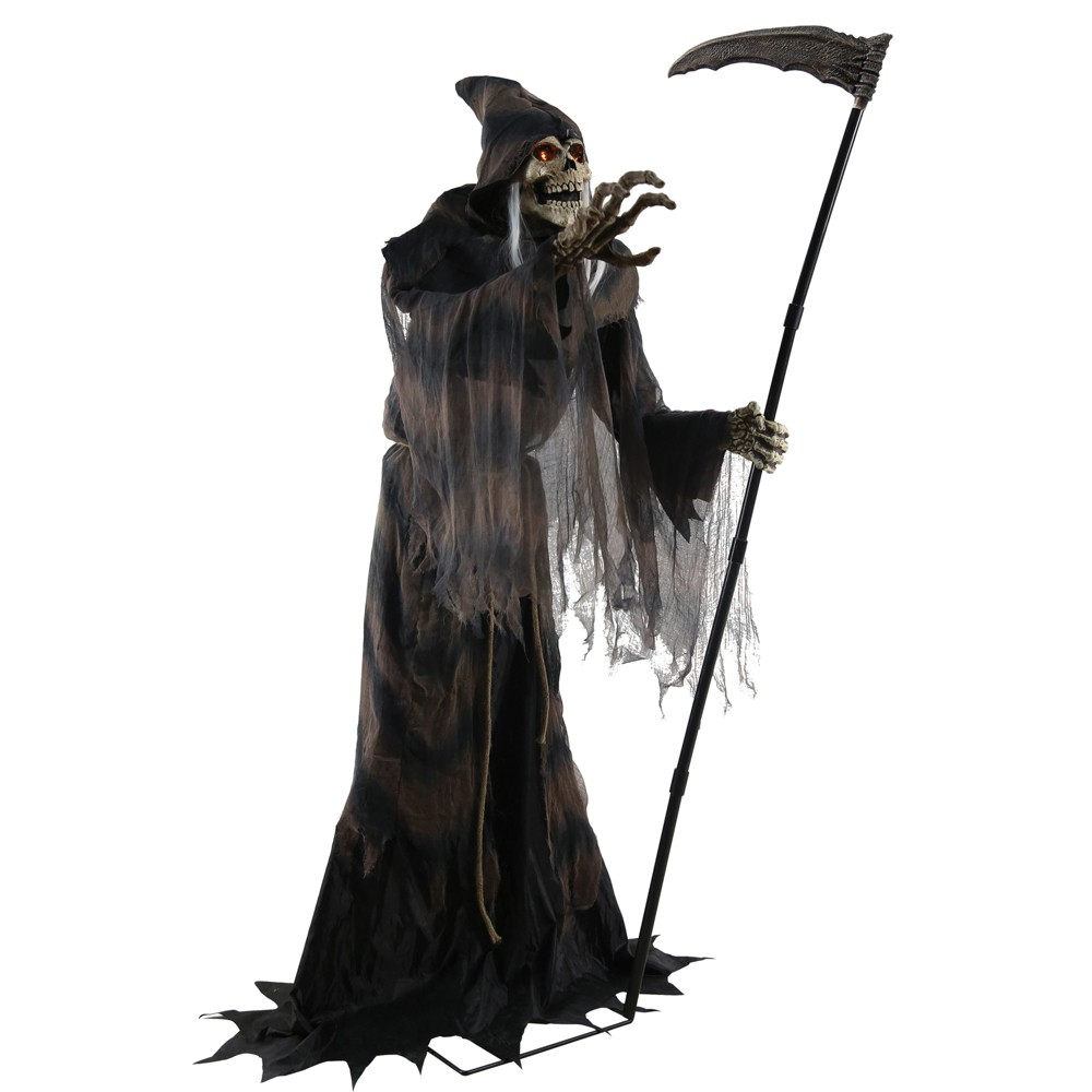 6ft Halloween Lunging Reaper Animated Prop, Multi-Colored