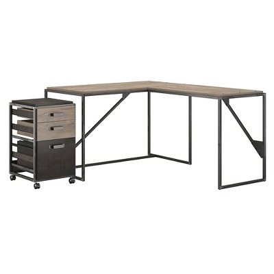 Bush Furniture 50W L Shaped Industrial Desk w/37W Return and Mobile File Cabinet Gray RFY004RG