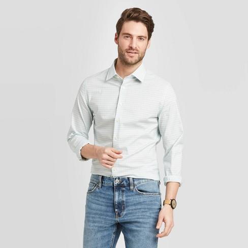 MOUTEN Men Button Up Print Slim Long Sleeve Dress Shirts