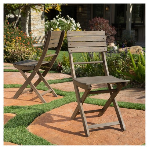 Positano Set of 2 Acacia Wood Foldable Dining Chairs - Christopher ...
