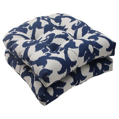 Outdoor 2-Piece Wicker Seat Cushion Set - Blue/White Damask