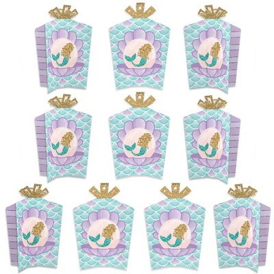 Big Dot of Happiness Let's Be Mermaids - Table Decorations - Baby Shower or Birthday Party Fold and Flare Centerpieces - 10 Count