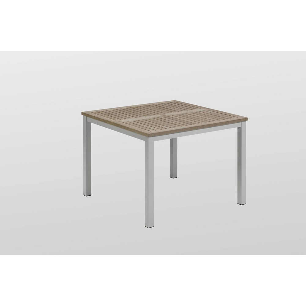 Travira 39 Square Dining Table with Powder Coated Aluminum Frame and Vintage Teakwood Top - Vintage Gray - Oxford Garden