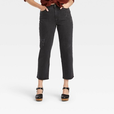 Women's Curvy Fit High-Rise Vintage Straight Cropped Jeans - Universal Thread™