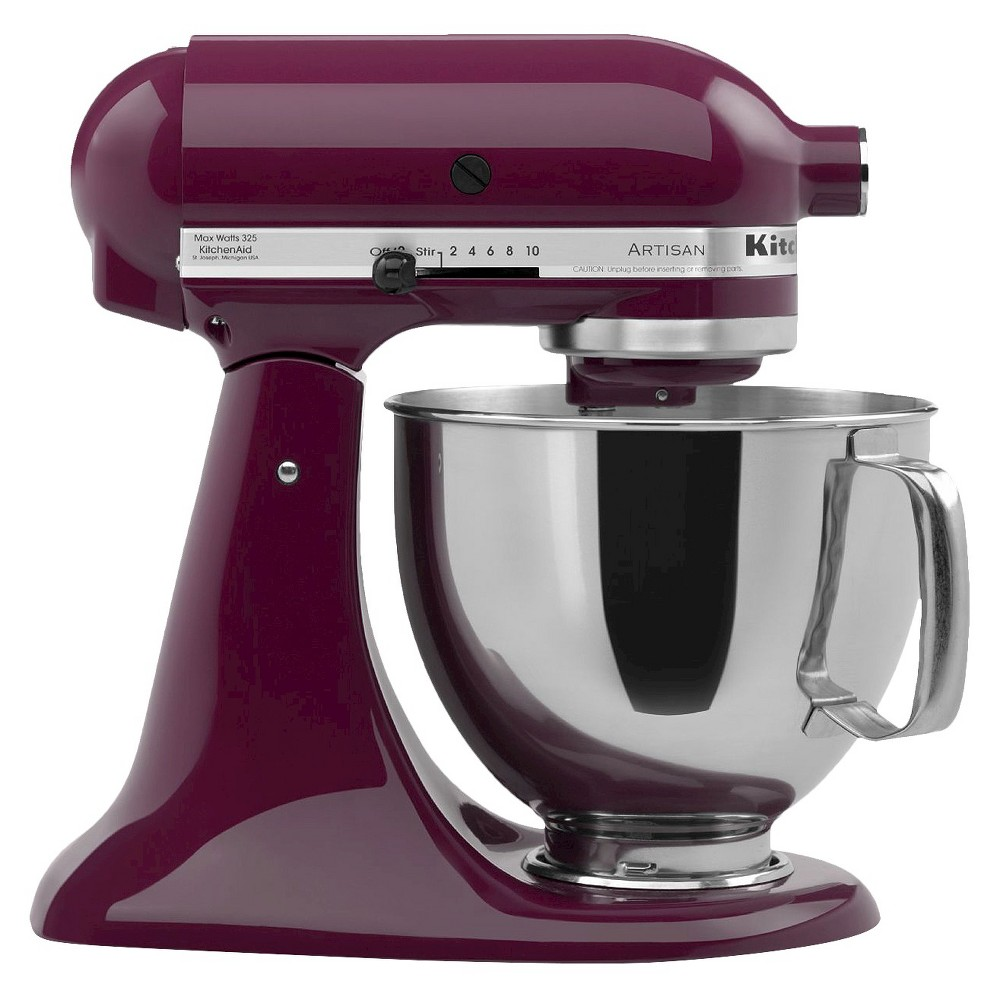 KitchenAid Artisan Series 5 Quart Tilt-Head Stand Mixer- Ksm150, Boysenberry Purple Whether you're looking for a housewarming or wedding gift, or simply looking to add a versatile tool to your own kitchen, this KitchenAid Artisan Stand Mixer is the perfect solution. It features 10 different speed settings, a tilt-head design, and a 5-quart stainless steel mixing bowl that fits a variety of different mixing needs. This electric stand mixer comes with a dough hook, flat beater, wire whisk and pouring shield so you can create a wide range of baked goodies or recipes with ease. The accessory hub on the front of the mixer allows you to buy additional attachments to utilize this mixer even more. This sturdy and durable stand mixer has a 325-watt motor that can handle the thickest doughs or mixing-intense recipes with ease. The sleek and modern design will add a pop of style to any kitchen countertop and will always be at your fingertips when you need to whip up baked goodies or homemade recipes. Color: Boysenberry Purple.