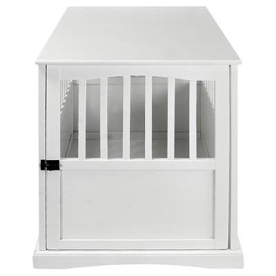 Dogs Pet Crate End Table Large - White - Flora Home