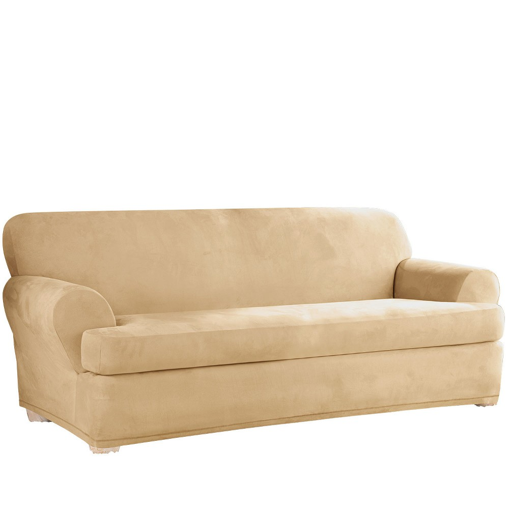 Stretch Suede T-Sofa Slipcover Camel - Sure Fit
