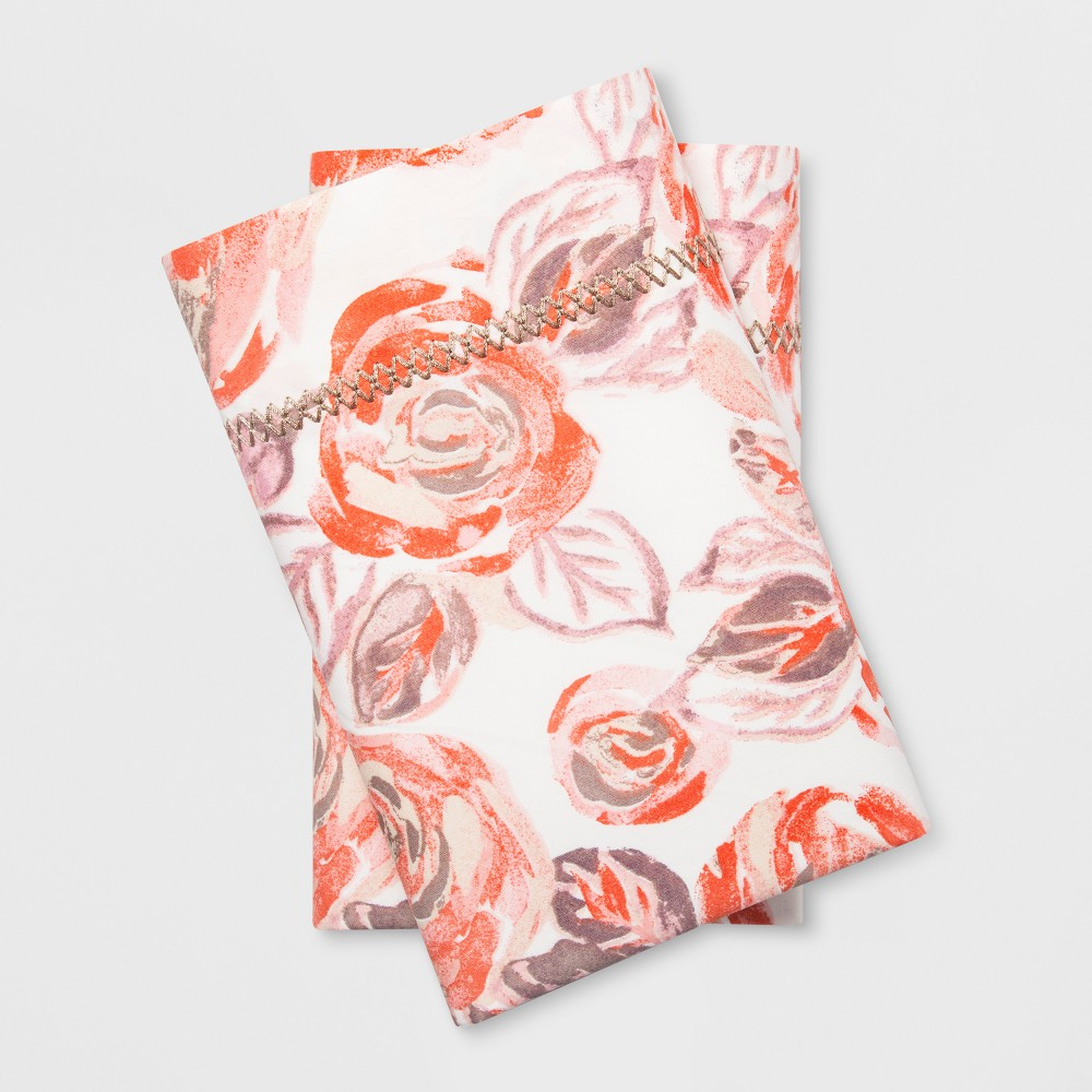 Print Percale Cotton Pillowcases (Standard) Coral Rose - Opalhouse