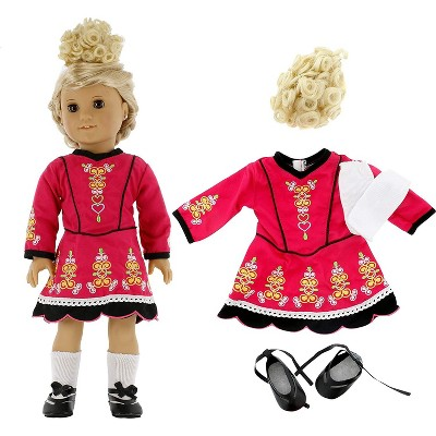 Dress Along Dolly Irish Step Dancing Outfit for American Girl Doll, Blonde Wig