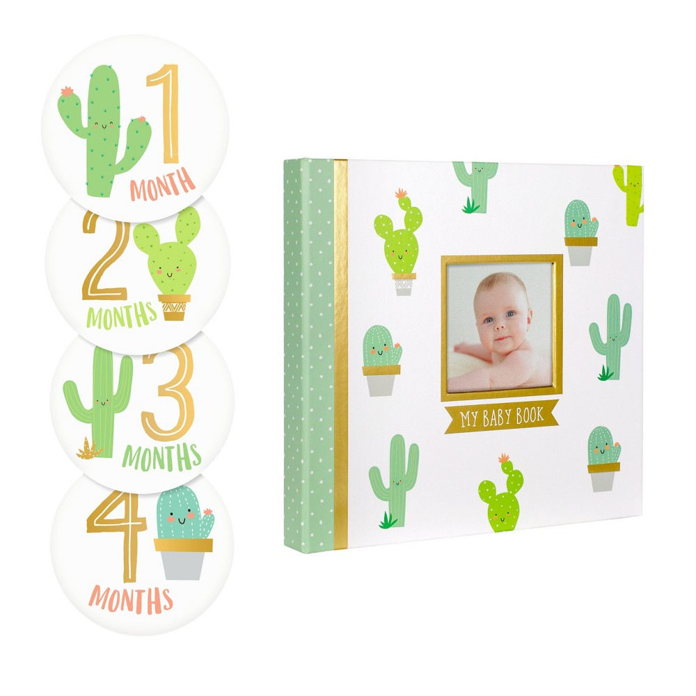 Pearhead Baby's Memory Book and Sticker Set - 16 Stickers, Green