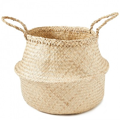 Americanflat Hand Woven Palm and Seagrass Belly Basket Eco Friendly