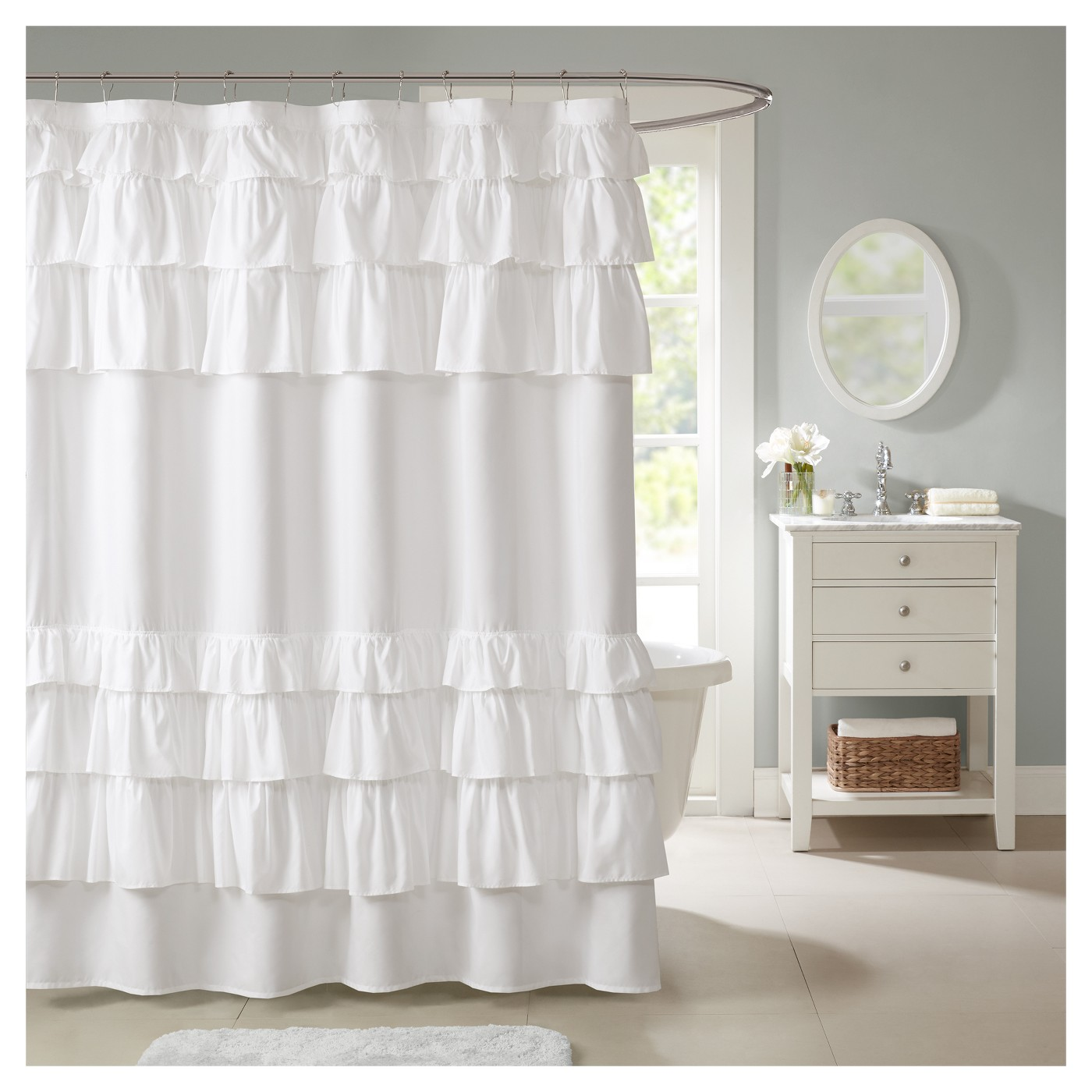 Solid Ruffle Shower Curtain Solid White - image 1 of 1