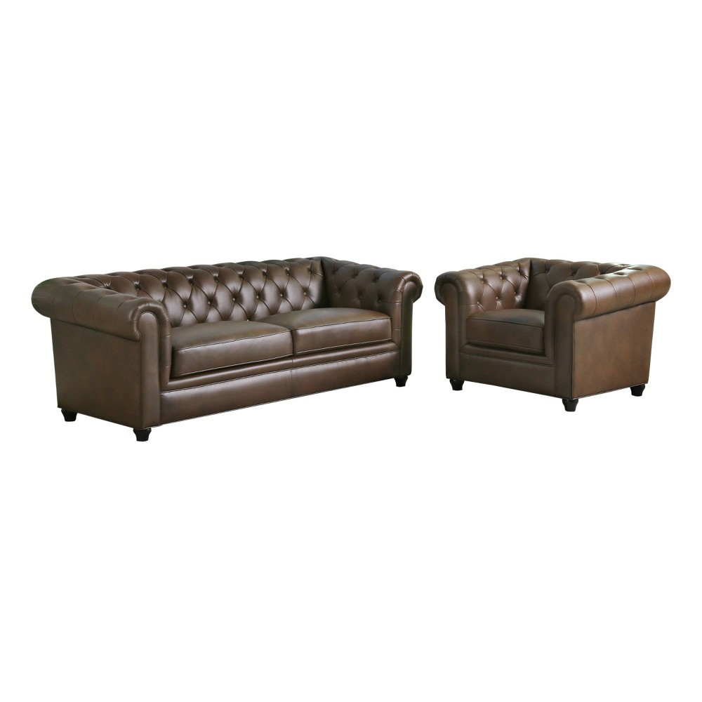 Image of 2pc Lincoln Tufted Chesterfield Sofa & Armchair Set Brown - Abbyson Living
