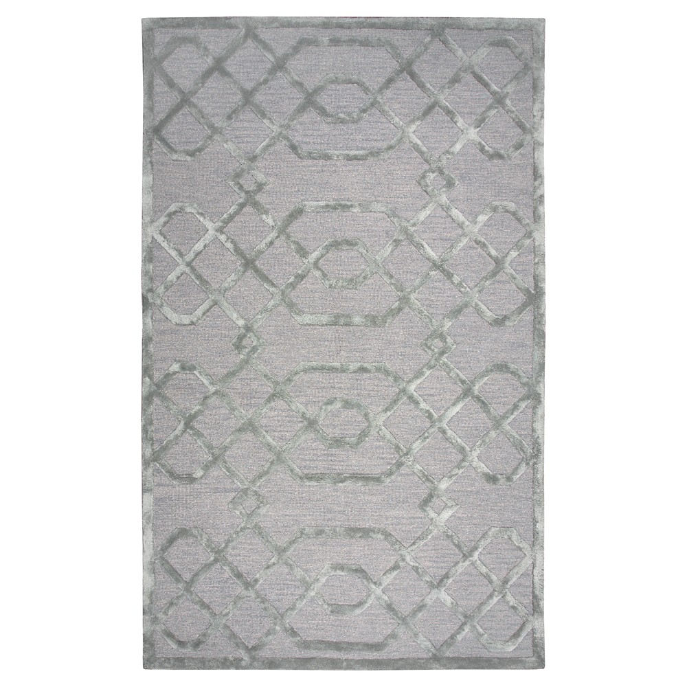 Silver/Gray Geometric Trellis Rug (8'x10') - Rizzy Home, Silver Gray