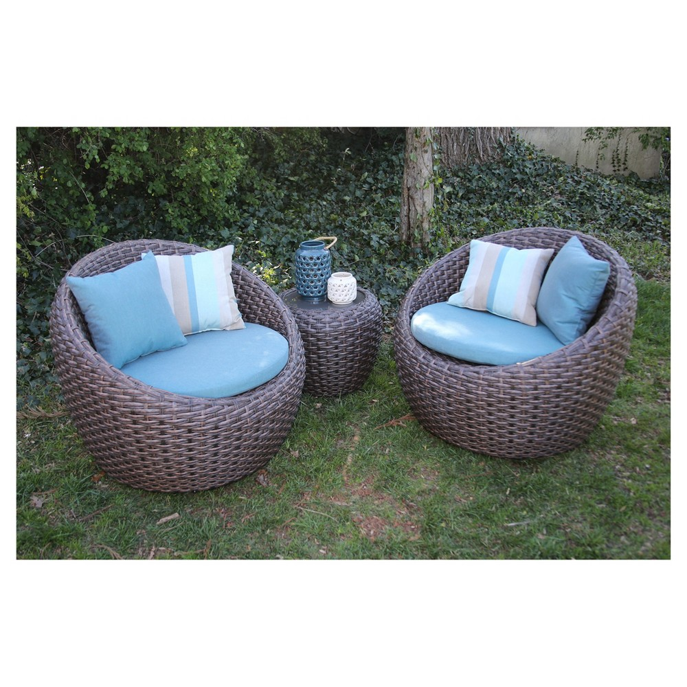 Image of Corona 3pc All-Weather Wicker Patio Sectional Seating Sett - Blue - AE Outdoor