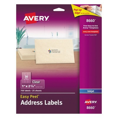 Avery® 08660, Clear Easy Peel Mailing Labels, 1 x 2 5/8, 750pk