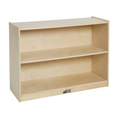 ECR4Kids Birch 2 Shelf Storage Cabinet with Back, Wood Book Shelf Organizer