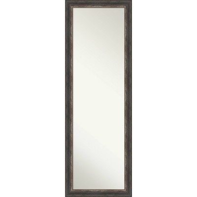 "18"" x 52"" Bark Rustic Framed On the Door Mirror Charcoal - Amanti Art"