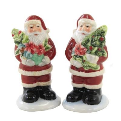 "Tabletop 4.5"" Christmas Story Salt & Pepper Santa Claus Tree Poinsettia Certified International  -  Salt And Pepper Shaker Sets"