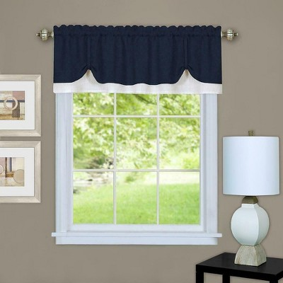 Kate Aurora Country Farmhouse Flax Linen Tie Up Window Valance