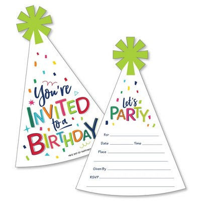 Big Dot of Happiness Cheerful Happy Birthday - Shaped Fill-in Invitations - Colorful Birthday Party Invitation Cards with Envelopes - Set of 12