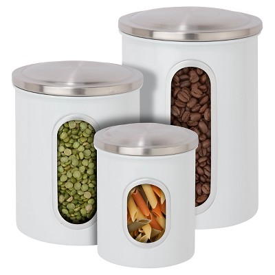 Honey-Can-Do® Steel Canister Set 3-pc. White
