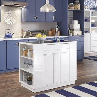 Linear Storage Kitchen Island White - Home Styles