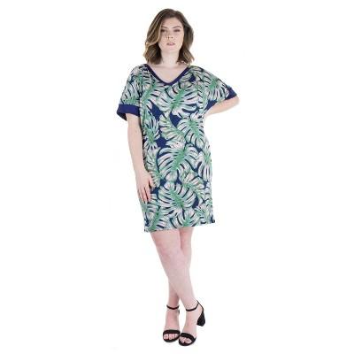 24seven Comfort Apparel Women's Plus Knee Length T Shirt Dress