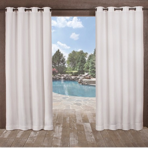 Delano Indoor/Outdoor Heavy Textured Grommet Top Light Filtering Window Curtain Panels - Exclusive Home - image 1 of 7