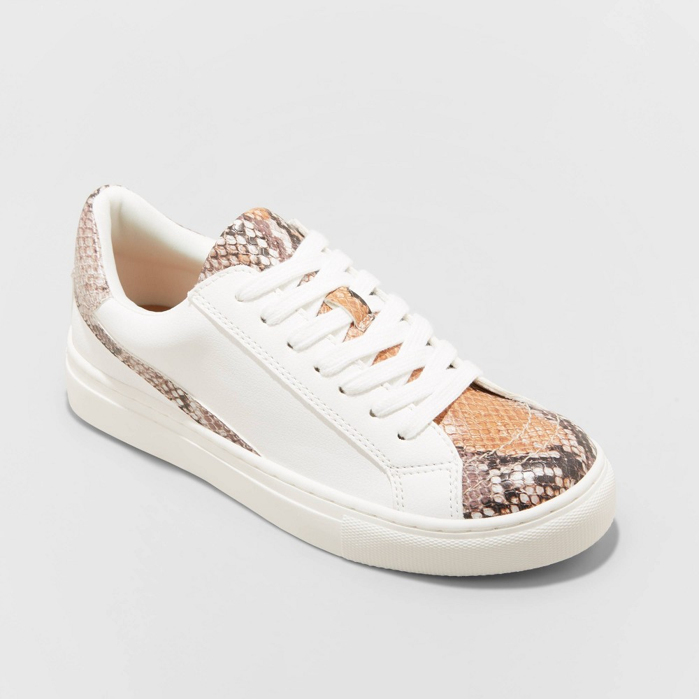 Women 39 S Brittin Snake Print Sneakers Universal Thread 8482 Mocha Brown Vanilla 8 5