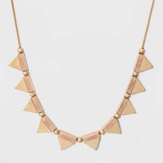 Triangle Semi Precious Rose Quartz Inlay Necklace - Universal Thread™ Gold