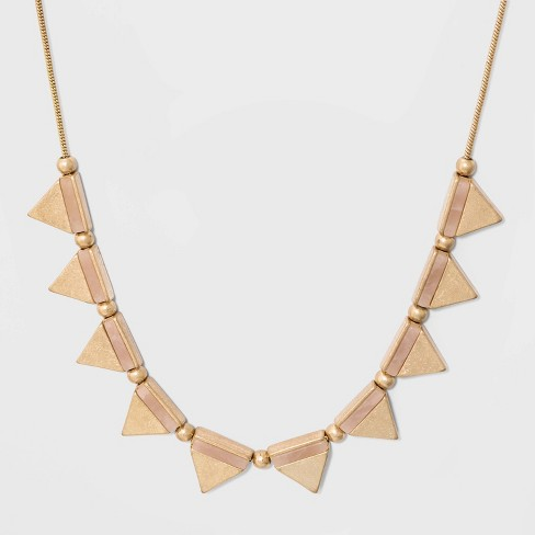 Triangle Semi Precious Rose Quartz Inlay Necklace - Universal Thread™ Gold - image 1 of 2